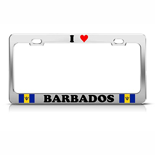 (I Love Heart Barbados Flag Chrome Heavy Duty Metal License Plate Frame Tag Perfect for Men Women Car garadge Decor)
