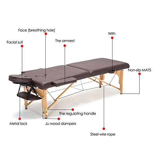 Vogvigo Professional Portable Massage Table Foldable Table Spa Table with Bag Salon Furniture Wooden Folding Bed Beauty Massage Table PU (Black)