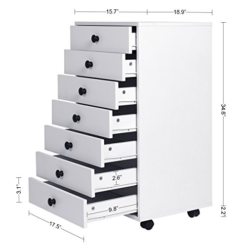 DEVAISE 7-Drawer Mobile Cabinet for Office & Closet, White