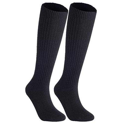 Lian LifeStyle Non Slip, Exceptional, Cozy and Cool Women's 2 Pairs Knee High Wool Crew Socks JH05 Size 6-9(Black)