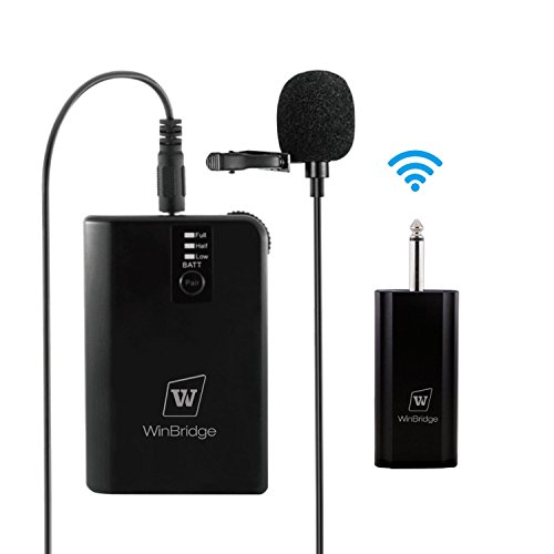 700 Uhf Wireless Systems - WinBridge WB028 Rechargeable UHF Wireless Lavalier Microphones with easy Clip On System with Bodypack Transmitter Receiver 1/4 Inch Output Perfect for DSLR Camera