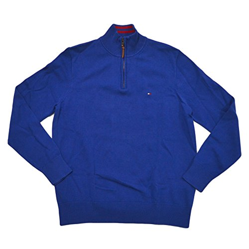 (Tommy Hilfiger Mens Mock Neck 1/4 Zip Sweater (Limoges Blue, Small))