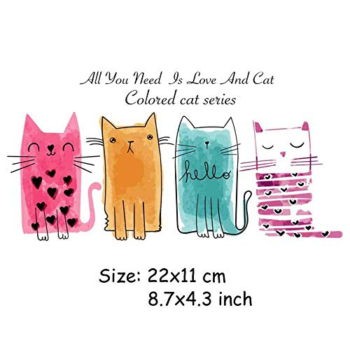 Patches - 4pcs Set Cat Patches Iron On Transfers Children T Shirt Jeans Diy Decoration A Level Washable - Carrier Vomiting Bell Trapping Tick Hammock Eliminator Restraint Spray Balls -