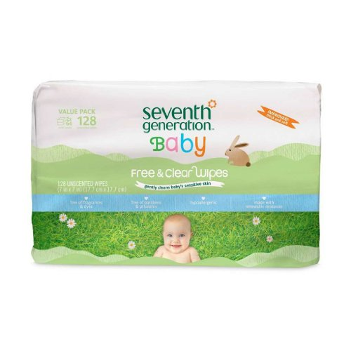 SEVENTH GENERATION BABY WIPES,FREE&CLR,REFLL, 128 CT
