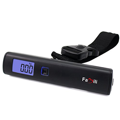 Famili FM253 Digital Hanging Postal Luggage Scale with Large LCD display and 110lbs/50kg Capacity for Airline...