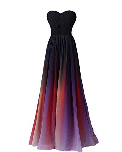 Exlinonline Women's 2016 Gradient Color Strapless Prom Evening Dress 1 Size 6 (Evening Take 5 Strapless Dress)