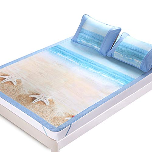 Bleached Single Fold Towels - WHLMDZI Summer Cooling Pad -Summer Sleeping Mat Comfortable Breathable Ice Silk Fold Student Dorm Room Single Double Bed Decorating Bedding with Pillowcases (Size : 180 X 198CM)