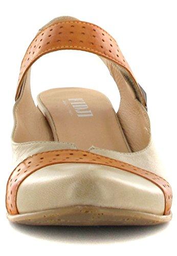 FIDJI, escarpins femme-sling-marron/orange-chaussures en matelas grande taille