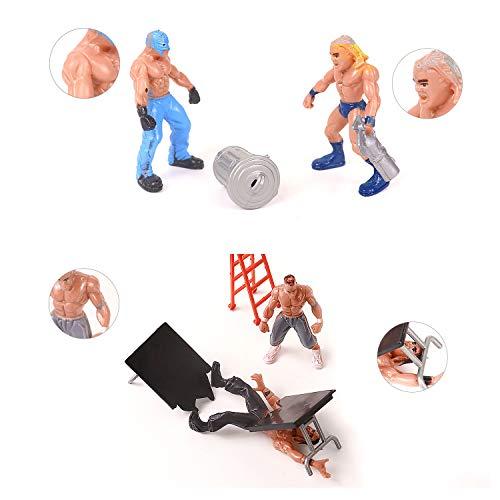 YIJIAOYUN 32pcs Mini Wrestling Playset include 12 Miniature Action Figure Wrestling Players and Multiple Realistic Accessories for Kids Children