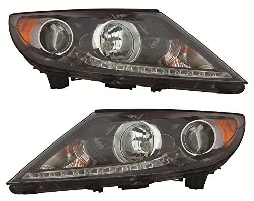 For 2013 2014 2015 2016 Kia Sportage Headlights Headlamps Assembly Driver Left and Passenger Right Side Pair Set Replacement KI2502184 KI2503184