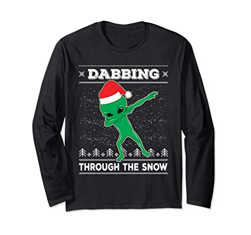 Dabbing Alien Ugly Christmas Sweater Dab Dance Long Sleeve