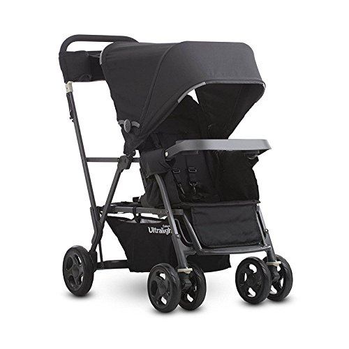 Caboose Ultralight Stand-On Tandem Lightweight Canopy Stroller, Black With Ebook - Caboose Brake