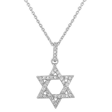 925 Sterling Silver Classic Jewish Star of David White CZ Pendant Necklace (Star Of David Silver Pendant)