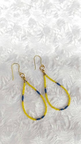 Natural Lapis Lazuli Earrings with Yellow Tiny Seed Beads Handmade Jewelry Circle Earrings Wholesale Make for Order