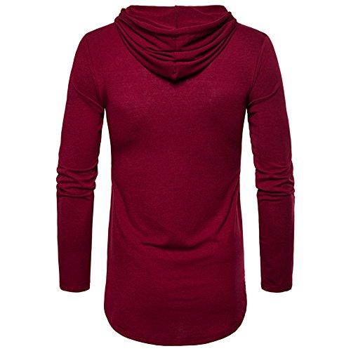 A Magliette Cappuccio Color Felpe Top Slim shirt Vino Lunga E camicia Maniche manica Da T Uomo Fit Con Rosso Eleganti yanhoo Lunghe Divertenti Camicetta Autunno vYfnf