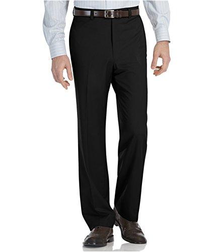 Calvin Klein Men's Straight Fit Flat Front Dress Pants Black 38x29 by Calvin Klein