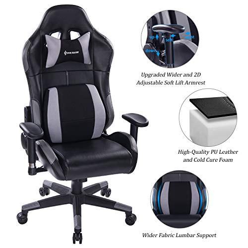 VON RACER Multifunctional Gaming Chair - Elegant Reclining Computer Desk Chair with Soft Memory Foam Seat Cushion - Ergonomic Office Chair with Removable Headrest Lumbar Support Pillow (Grey)