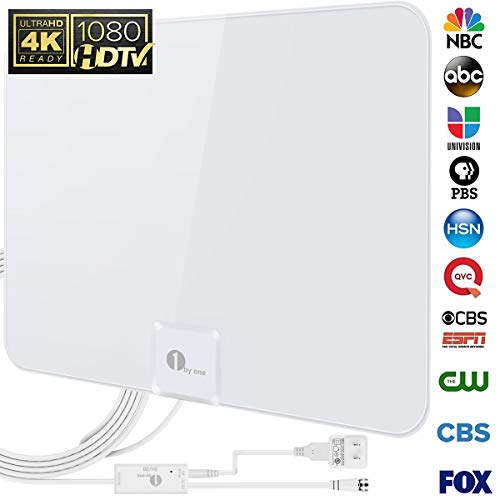 1byone ous00–0565–Shiny Antena HDTV Antena con Super Fino 5m Cable coaxial de Alto Rendimiento, 50 Miles