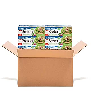 Dare Breton Gluten Free Crackers, Herb and Garlic, 4.76 oz Box (Pack of 6) – Healthy Gluten Free Snacks with No Artificial Colors or Flavors – Made with Tapioca Flour and Green Lentil Flour