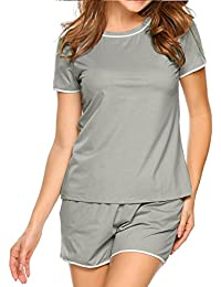 Short Pajamas For Women Lace Short Sleeve PJS Sets With Pockets