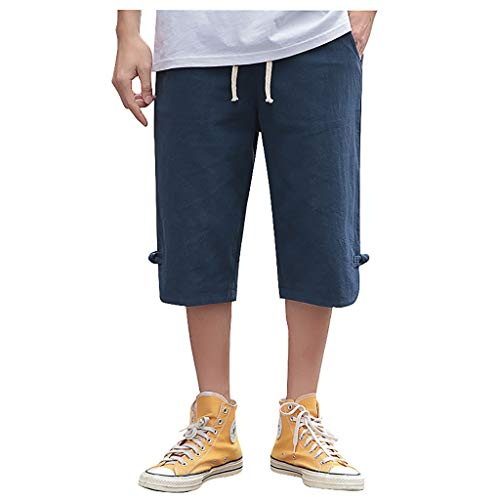 - Men's Relaxed Capri Shorts | Mens Straight Fit Breathable Cotton Linen Yoga Jogger Pants | Casual Solid Color Drawstring Knee Length Trouser