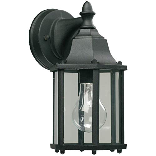 Quorum 786-15 One Light Wall Lantern, Black Finish with Clear Glass ()