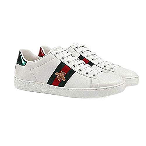 YoXian Women's Fashion Flat Stripe Sneakers Bee Embroidered Casual Shoes|7 Size White