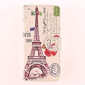 ZLXUSA (TM) The Eiffel Tower and the Rose Pattern PU Full Body Case with Card Slot for iPhone 4/4S
