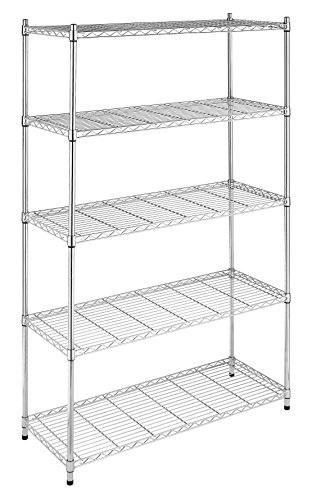- Whitmor Supreme 5 Tier Adjustable Shelving - 500 Pound Weight Capacity Per Shelf - Leveling Feet