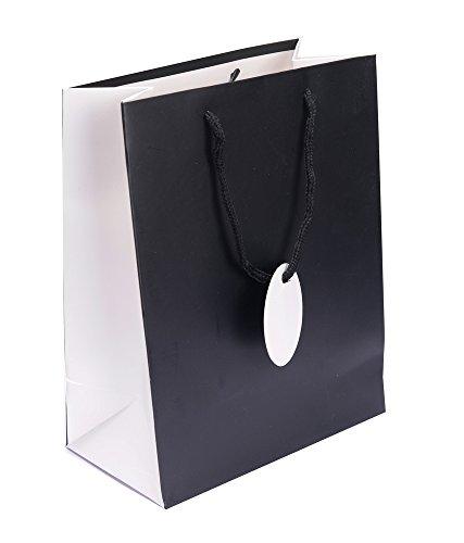 Enwraps Solid Contrast Print Black Paper Bag (6 Pcs)