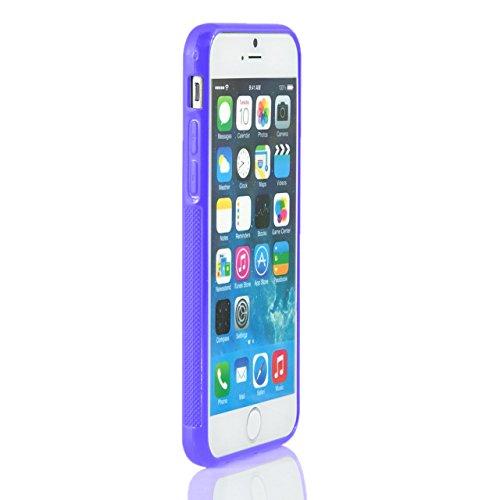 """iProtect Bumper Coque Hard Case cuir synthétiquee - PC housse de protection transparent et Apple iPhone 6 (4,7"""") en transparente + violet"""