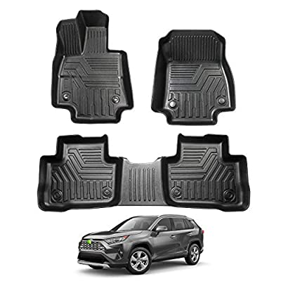 Powerty Floor Mats 2 Row Liner Set for 2020 2020 2021 Toyota RAV4-No Hybrid Models TPV 3D Trunk Mat All-Weather Custom Fit Floor Liner (Fit Hybrid Models): Automotive