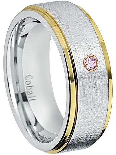 - Jewelry Avalanche 8MM Comfort Fit Brushed 2-Tone Yellow Gold Stepped Edge Men's Cobalt Chrome Wedding Band - 0.07ct Pink Tourmaline Cobalt Ring - October Birthstone Ring -12