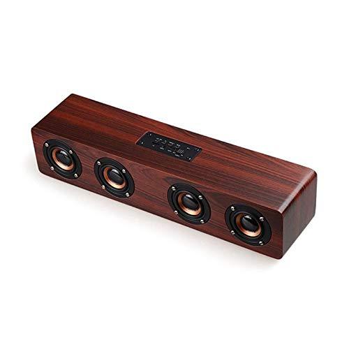 Z&cl Altavoces inalámbricos Bluetooth de Madera 4 Bocinas Altavoces portátiles de Alta Potencia Altavoces 3D para TV Barra...