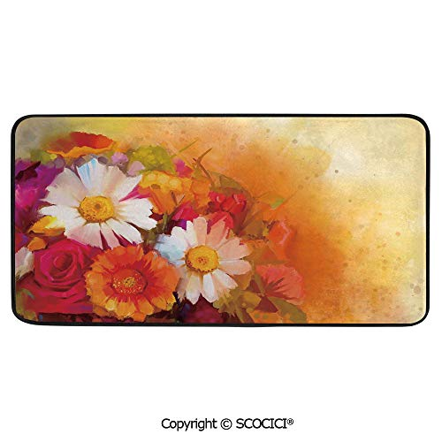 Daisy Rose Bouquet - Soft Long Rug Rectangular Area mat for Bedroom Baby Room Decor Round Playhouse Carpet,Floral,Vivid Flower Bouquet with Roses Daisy Blossoms Flourishing,39