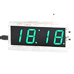 DIY Digital Clock Kit 4 Digit LED Electronic Clock Kit Large Screen with Transparent Case LED Green