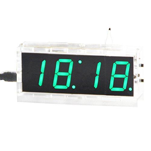 Kunhe DIY Digital Clock Kit 4 Digit LED Electronic Clock Kit Large Screen with Transparent Case LED Green