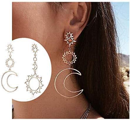 Fashion Boho Colorful Crystal Star Moon Dangle Eardrop Earrings Women Jewellery
