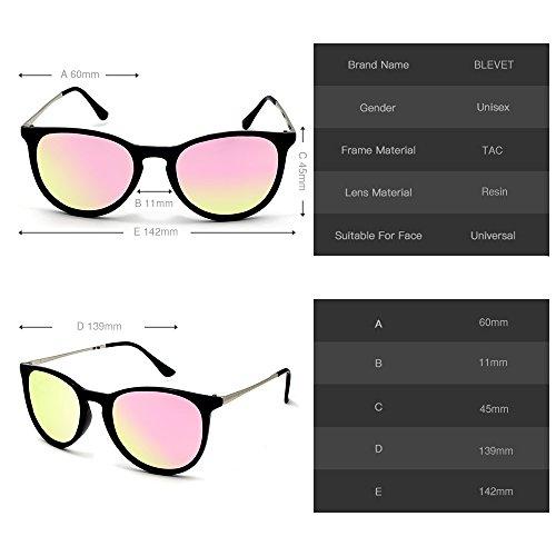 Polarisé Lunettes Soleil Homme de 100 Pink BLEVET Femme UV400 Protection BE001 Rétro ndqwxHwYI