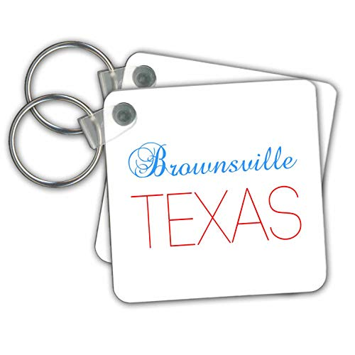 Key Brownsville (Alexis Design - American Cities Texas - Brownsville, Texas, red, blue text. Patriotic home town design - Key Chains - set of 2 Key Chains (kc_301533_1))