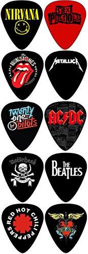 Rocking Bands Standard Guitar Picks with 10 Legendary Bands(071mm) (Band Picks Guitar)