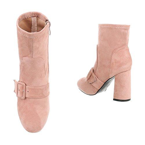 Damen Schuhe Stiefeletten High Heels Boots Altrosa 41 Ah5Wz