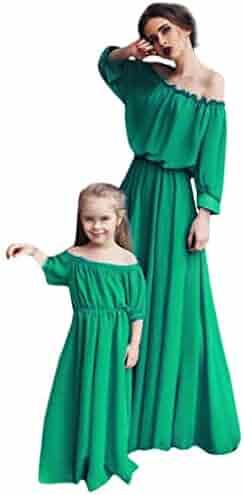 5508702095c8 MISYAA Matchy Slash Neck Dresses Mom and Girl, Lantern Sleeve Off Shoulder  Chiffon Boho Maxi
