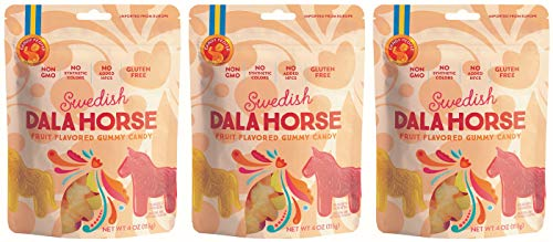 Candy People 100% Swedish Dala Horse Fruit Flavored Gummy Clean Candy - Citrus, Pineapple, Raspberry Fruit Flavors - Gluten and Gelatin Free - 3-Pack