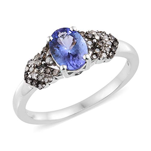 925 Sterling Silver Platinum Plated Tanzanite Diamond Bridal Anniversary Ring Size 5 Cttw 1.2 -