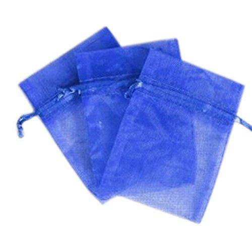 KINGWEDDING 3''x4'' 8x10cm Royal Blue Organza Drawstring Strong Candy Jewelry Pouch Gift Bag For Party Wedding Favor (100Pcs) by KINGWEDDING