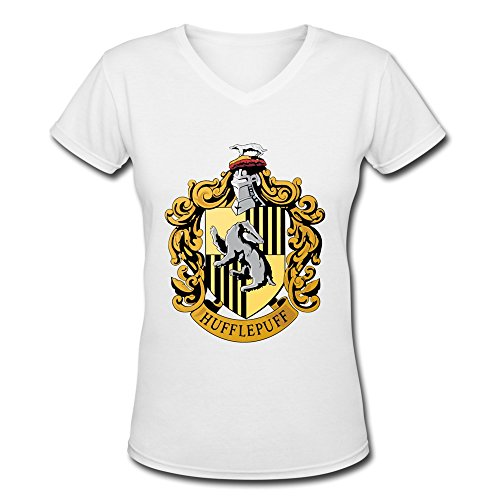 AOPO Harry Potter Hufflepuff Badger V-Neck Short Sleeve Tees For Women