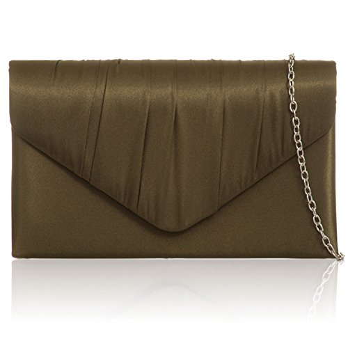 Zarla New Women Pleated Satin Envelope Clutch Bridal Party Prom Ladies Evening Bags UK Olive Green