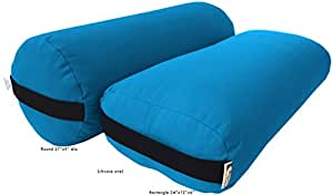 Yoga Bolster - Cotton Round - Aqua