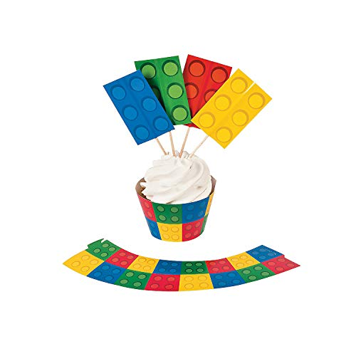 Fun Express - Block Party Cupcake Collars W/Picks for Birthday - Party Supplies - Serveware & Barware - Picks & Stirrers & Parasols - Birthday - 100 Pieces